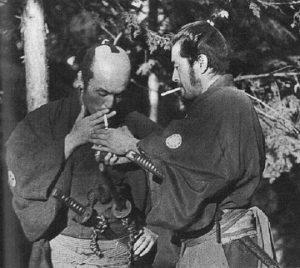 Seven Samurai Smoke break on the set