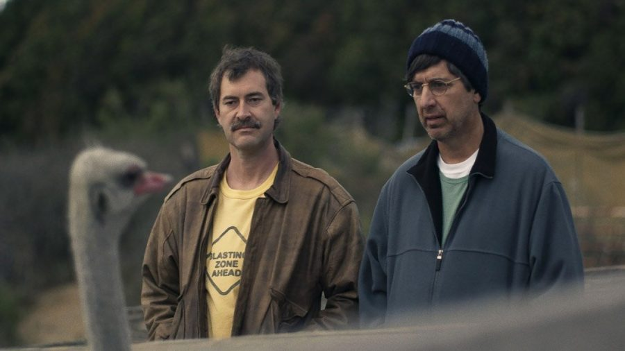 Mark Duplass and Ray Romano taking a lazy stroll in Paddleton - Netflix Original Movies of 2019