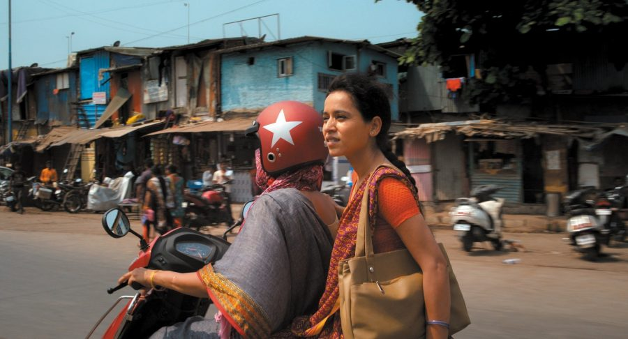 Tillotama Shome on the bike in Mumbai