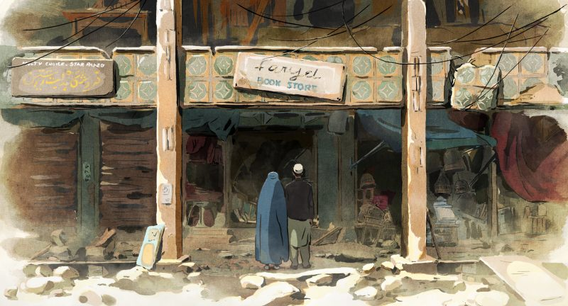 Mohsen and Zunaira standing in front of a ruined Book store in the animated film - The Swallows Of Kabul